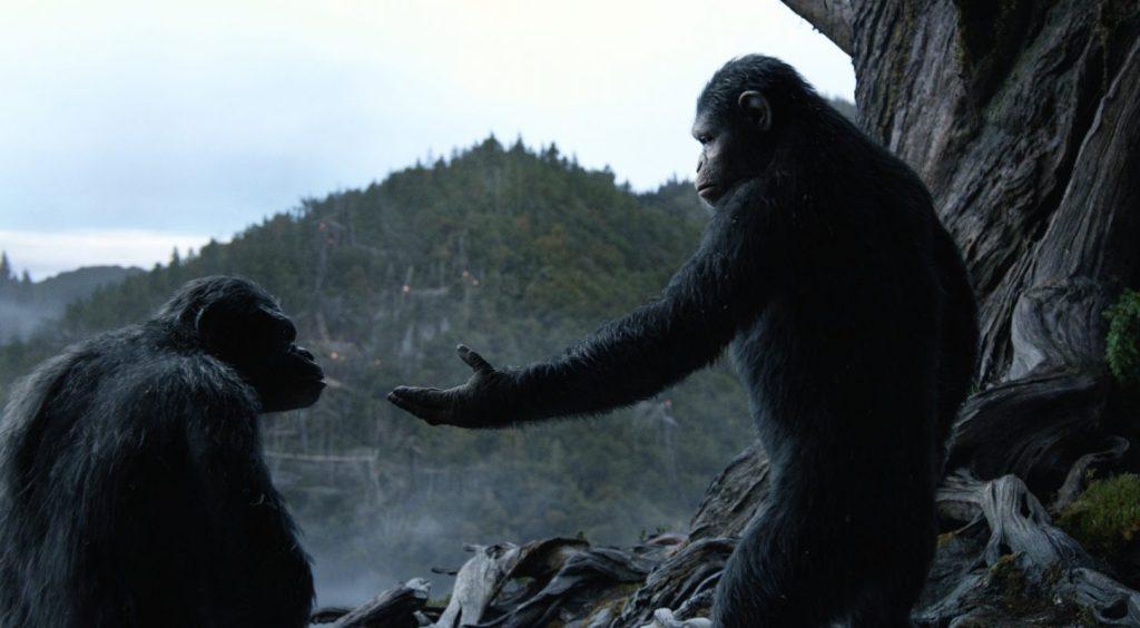 """Image de César qui tend la main à un de ses compatriotes dans """"La Planète des Singes : Suprématie"""""""